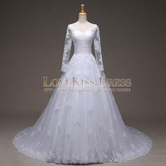 Real Made Vestido De Noiva Cheap Manga Longa V_neck Long Sleeve Lace Wedding Dresses Court Train A Line Long 2015 Bridal Gown