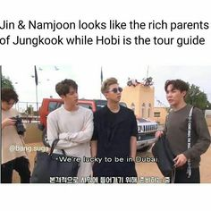 BTS Jungkook, Jin, Rap Monster and J-Hope. It's not far from reality by their face hahahaha Rap Monster, Kookie Bts, Bts Bangtan Boy, Bts Jungkook, Namjin, K Pop, Wattpad, Famous Meme, Nct