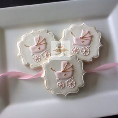 2 dozen vintage baby carriages pink, white and gold size cookies Hand painted gold accents ! Perfect party favors for a sweet baby girl Summer Cookies, Fancy Cookies, Iced Cookies, Cute Cookies, Royal Icing Cookies, Cupcake Cookies, Cookie Favors, Heart Cookies, Valentine Cookies