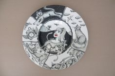 """""""The Woman Who Loves Cats """" part of Story plate series By Tiffany Wallace Ceramics SA. 2015"""
