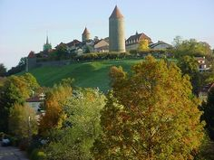 Village of Romont, Switzerland at sunrise Homeland, My Dream, Switzerland, Golf Courses, Sunrise, Heaven, Dreams, Mansions, Country