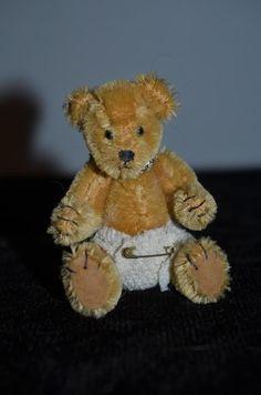 Vintage Miniature Teddy Bear HALF PINT By Elva Mohair Jointed MINIATURE Dollhouse # 10