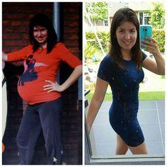 Marianne Op de linker foto zie je mij, 32 weken zwanger van mijn 2 meiden. Op de rechter foto, zoals ik nu ben. En daar ben ik super trots op!  .