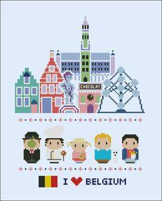 Belgium icons Mini people around the world PDF by cloudsfactory