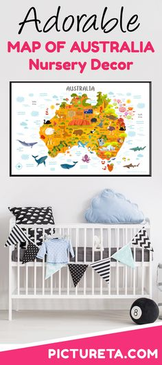 Map of Australia for Kids with modern illustrations makes a perfect baby gift, first birthday gift, playroom décor, nursery décor or classroom décor. Detailed Map of Australia is full of interesting facts about Australia. Get Yours at PICTURETA. Nursery Décor, Nursery Decor Boy, Playroom Decor, Australia For Kids, Australia Map, Detailed Map Of Australia, Classroom Décor, Geography Map, Adventure Nursery