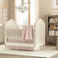 Gray Pink Beautiful Baby Girls Room. Absolutely live the way the chandelier ties room together
