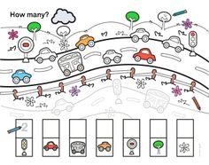 Letter M Activities, Kids Travel Activities, Counting Activities, Preschool Learning Activities, Kindergarten Worksheets, Preschool Crafts, Transportation Theme Preschool, Transportation Worksheet, Math For Kids