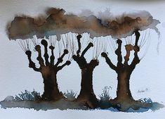 Pollarded trees for #inktober #INKTOBER17 #inktober2017 #inkdrawing #watercolor #Watercolour
