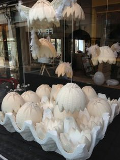 Knitted Easter window display! | The Making Spot blog