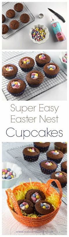 Quick and easy Easter nest cupcakes recipe - a fun dessert for Easter that takes no time at all - Eats Amazing UK (easter baking ideas) Cute Easter Desserts, Easter Cupcakes, Easter Treats, Easter Recipes, Easter Cake, Easter Baking Ideas, Cupcakes Kids, Kids Baking, Gourmet Cupcakes