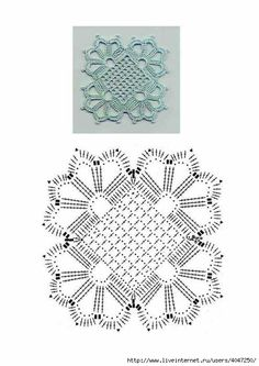crochet granny square with filet center, pattern chartCrochetemoda: Casaqueto de Crochet The diagram for the pretty lacy cardigan. This is the motif for the lacy cardigancrochet venitian square Lijkt me prachtig om te maken. This would be lovely adap Crochet Motif Patterns, Crochet Diagram, Crochet Chart, Thread Crochet, Crochet Tablecloth, Crochet Doilies, Crochet Flowers, Point Granny Au Crochet, Crochet Squares