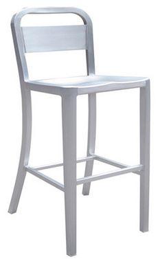 danish aluminum bar stool with brushed aluminum finish by alston