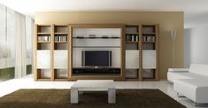 Wooden TV wall units with centered TV room and modern bookshelves system storage