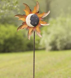 Metal #Moon And #Sun Garden #Wind #Spinner - glows in the dark at night!