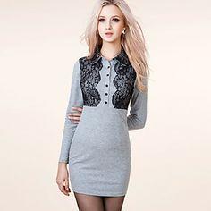 Vestido gris detalles encaje manga larga - EUR € 32.99