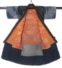 Infant's cotton patchwork kimono with stenciled safflower lining