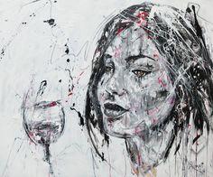 Lucile Callegari / ART D VIN / Acrylique et fusain sur toile, 120x100cm, 2016.