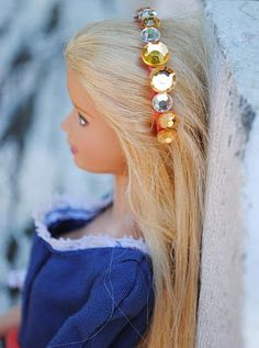 Doll Headbands from bottle cap rings from soda or water bottles and rhinestone stickers