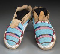 American Indian Art:Beadwork and Quillwork, A Pair of Crow Beaded Hide Moccasins c. Cowboy Boots Women, Cowgirl Boots, Western Boots, Riding Boots, Native American Moccasins, Native American Beadwork, Beaded Moccasins, Moccasins Mens, Crow Indians