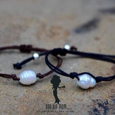 Fresh Water Pearl Bracelet. Colors: Black and Brown. Wear this simple fresh water pearl bracelet by itself or stack with other bracelets. One Hip Mom women's clothing boutique in Spring Texas.