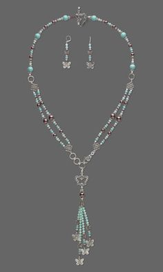 "Double-Strand Necklace and Earring Set with SWAROVSKI ELEMENTS and Antiqued Silver-Finished ""Pewter"" Charm and Beads"