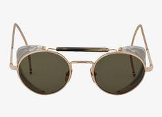Thom Browne 12K Gold Round Mesh Trim Aviator Sunglasses
