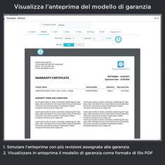 Visualizza l'anteprima del modello di garanzia, simulare l'anteprima con più revisioni assegnate alla garanzia, visualizzare in anteprima il modello di garanzia come formato di file PDF.