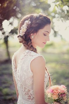 Beautiful fishtail braid with flowers.    My Day - (Hatunot Blog) The English Speakers Guide To Planning a Wedding in Israel