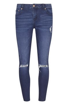 Blue Busted Knee Ankle Grazer Jeans