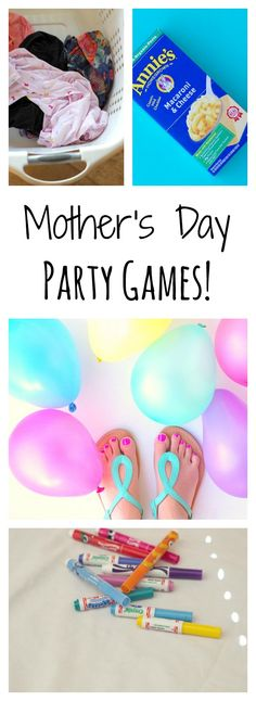 Mother's Day party games. Why should kids have all the fun. Mom's like fun games and surprises as much as kids. Let Mom join in the fun and games.