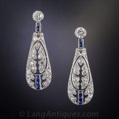 Edwardian/Deco Diamond and Sapphire Earrings