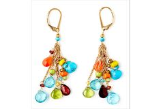 Bohemian Gemstone Briolette Earrings with faceted carnelian, garnet, turquoise, apatite, and peridot.