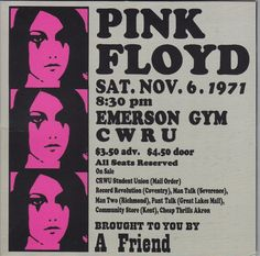 The poster for a Floyd show 45 years ago today... $3.50 in advance, or a dollar more on the door.