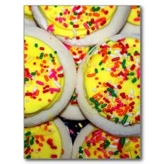 Yellow Iced Sugar Cookies w/Sprinkles Postcards