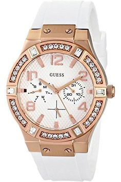 Women's Wrist Watches - GUESS U0426L1 Womens Jet Setter MultifunctionRose Gold Tone CaseWhite SiliconeRubber Strap100m WR *** Visit the image link more details. (This is an Amazon affiliate link)