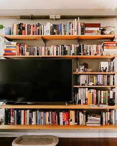 Bookshelves with tv, small bookshelf, bookshelves in living room, living . Bookshelves With Tv, Bookshelves In Living Room, Small Bookshelf, Bookcases, Home Living Room, Living Room Decor, Living Spaces, Shelves Around Tv, Open Shelves