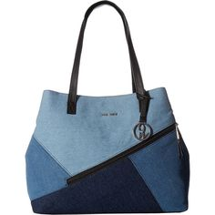 Nine West Daring Denim (Light Blue/Medium Blue/Dark Blue/Black)... ($43) ❤ liked on Polyvore featuring bags, handbags, shoulder bags, blue, dark blue purse, blue shoulder bag, light blue handbags, man bag and nine west handbags
