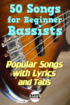 This book contains a collection of over 50 great first songs for beginner bass players to learn. The book has easy arrangements in tab. Lyrics are also included with each song. Come check out the list of songs! Bass Guitar Scales, Learn Bass Guitar, Bass Guitar Lessons, Guitar Lessons For Beginners, Bass Guitars, Guitar Pedals, Guitar Chords For Songs, Guitar Chord Chart, Guitar Tabs