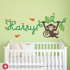 Monkey Wall Decal Jungle Vine Name Baby Nursery by graphicspaces, $55.00