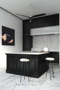 marble and black cabinets