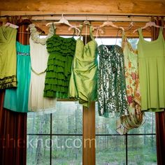 Love the mix and match of the dresses and colors
