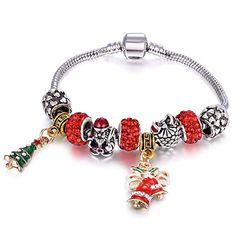 "Amazon.com: Cute Santa Claus Christmas Gift Tree Charm Bracelet Sliver Plated Snake Chain for Women Girls (7.87""/20cm)"