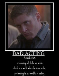 Jensen Ackles playing Dean Winchester stuck in a world as Jensen Ackles acting like Dean Winchester = perfection! And that face kills me every time I look at it!