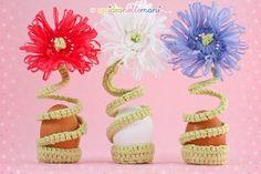 segnaposto, segnaposto pasqua, segnaposto fai da te, segnaposto all'uncinetto, segnaposto originale, fiore all'uncinetto, crochet flower, portauovo fai da te, tavola pasqua, cestino portauova, portauova, portauovo all'uncinetto