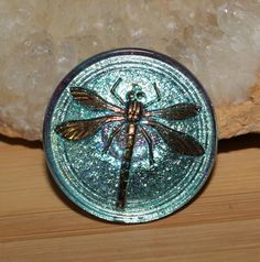 Czech Pressed Glass Button Round 30mm with 2.2mm Large Metal Shank Light Blue/Green Color and Gold Dragonfly Design Silver Back by BeadYourObsession on Etsy