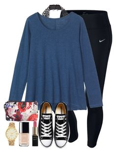 """""""when watching pll but you googled who A was and now want to yell @ aria"""" by elizabethannee ❤ liked on Polyvore featuring NIKE, Free People, Toast, Converse, Kate Spade, L'Oréal Paris, Chanel, women's clothing, women's fashion and women"""