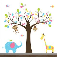 Children Wall Decal Pattern Leaf Wall Art Tree por Modernwalls