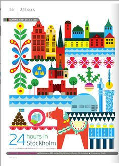 24 hours in Stockholm, Sweden, illustration by Patrick Hruby Stockholm City, Stockholm Sweden, Travel Illustration, Graphic Design Illustration, Voyage Suede, Deco Cool, World Cities, City Maps, Vintage Travel Posters