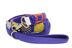 "Orange Blinks Wool Knitting ""Starry Skyline"" Collection Leash, Medium, Cobalt Blue/Red/Yellow"