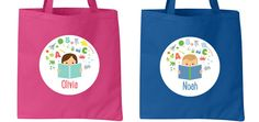 Love these personalized library tote bags for kids
